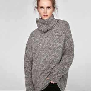 Zara | Super Oversized Chunky Knit Roll Knit Sweater